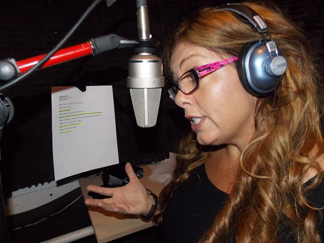 Heather recording Kate the Reindeer